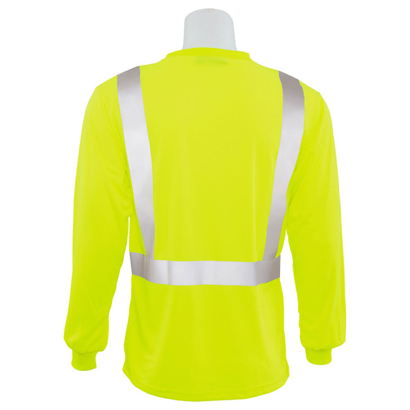 ERB Class 2 Hi Vis Lime Moisture Wicking Long Sleeve T-Shirt 9007S-L Back