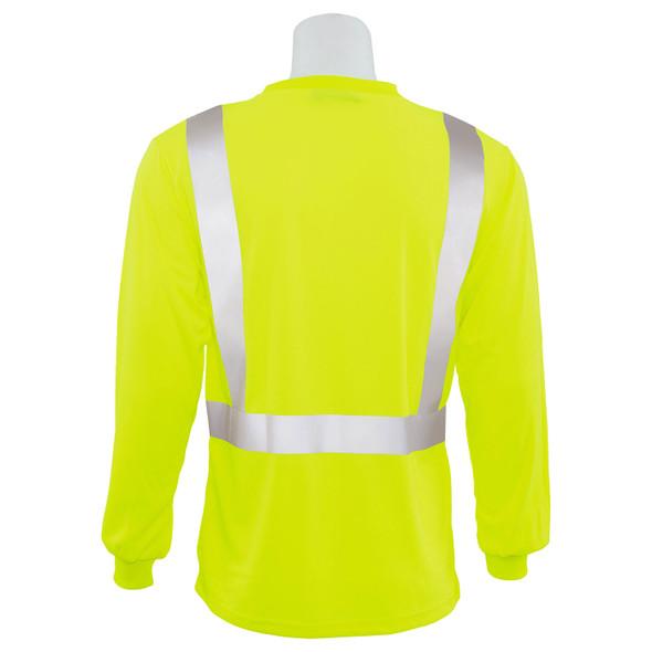 ERB Class 2 Hi Vis Lime Moisture Wicking Long Sleeve T-Shirt 9007S-L Back