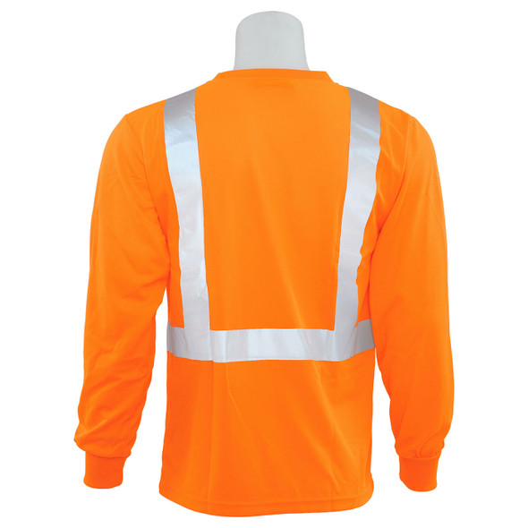 ERB Class 2 Hi Vis Orange Moisture Wicking Long Sleeve T-Shirt 9007S-O Back