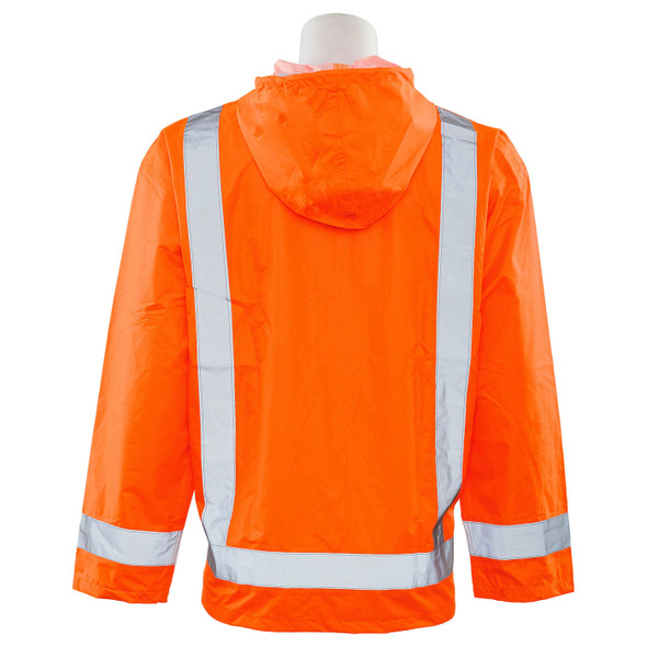 ERB Class 3 Hi Vis Orange Rain Jacket S373-O Back
