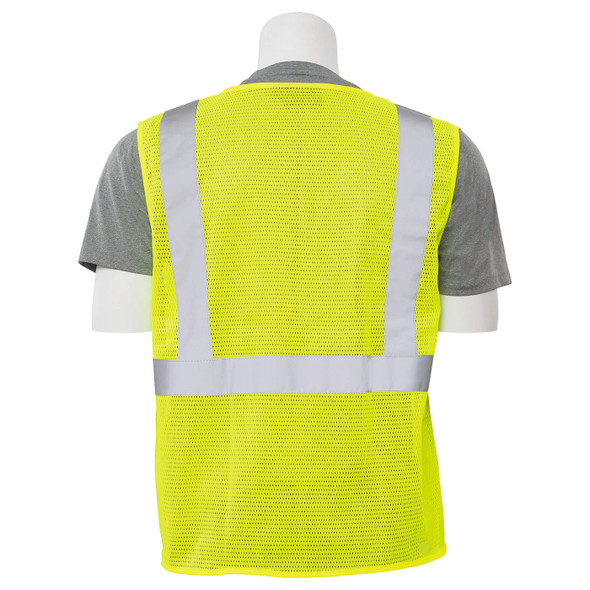 ERB Class 2 Hi Vis Lime Economy Mesh Safety Vest with Zipper Front S363P-L Back