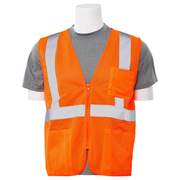 ERB Class 2 Hi Vis Orange Economy Mesh Safety Vest with Zipper Front S363P-O Front