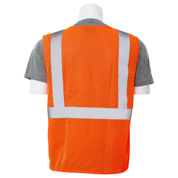 ERB Class 2 Hi Vis Orange Economy Mesh Safety Vest with Zipper Front S363P-O Back