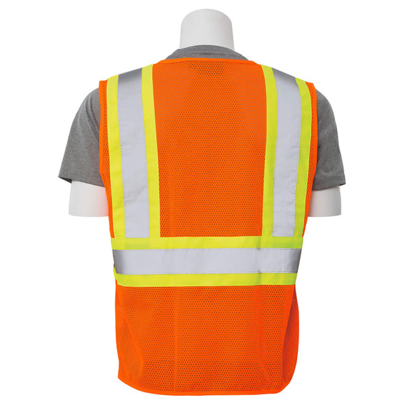 ERB Class 2 Hi Vis Orange Two-Tone Mesh Safety Vest with Zipper Front S383P-O Back