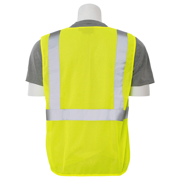 ERB Class 2 Hi Vis Lime Economy Mesh Safety Vest S362-L Back