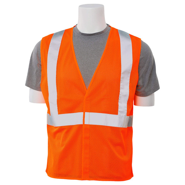 ERB Class 2 Hi Vis Orange Economy Mesh Safety Vest S362-O Front