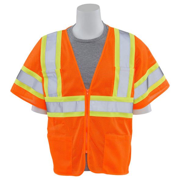ERB Class 3 Hi Vis Orange Two-Tone Mesh Safety Vest S683P-O Front Profile