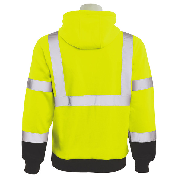 ERB Class 3 Hi Vis Lime Black Bottom Pullover Hooded Sweatshirt W376B-L Back