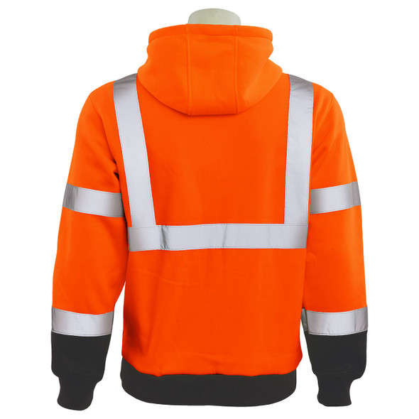 ERB Class 3 Hi Vis Orange Black Bottom Pullover Hooded Sweatshirt W376B-O Back