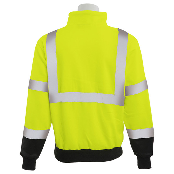 ERB Class 3 Hi Vis Lime Black Bottom Quarter Zip Sweatshirt W379B-L Back