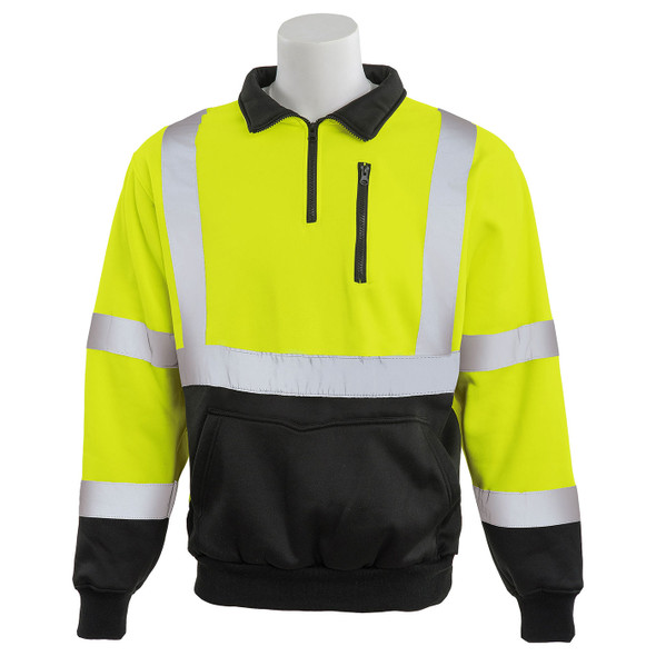 ERB Class 3 Hi Vis Lime Black Bottom Quarter Zip Sweatshirt W379B-L Front