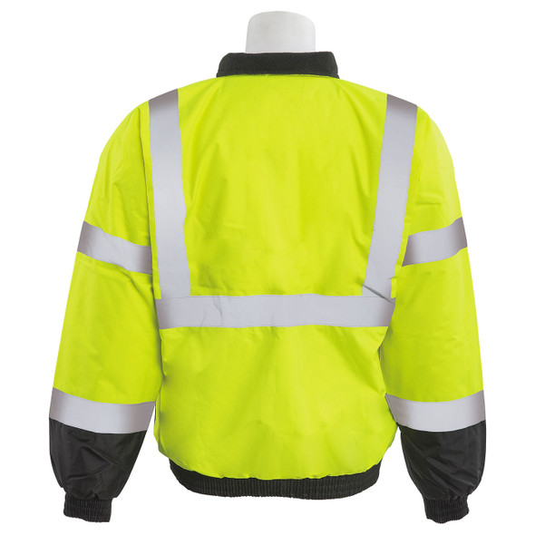 ERB Class 3 Hi Vis Lime Black Bottom Bomber Jacket W105-L Back