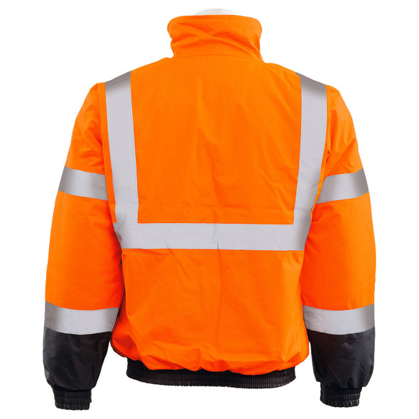 ERB Class 3 Hi Vis Orange Black Bottom Bomber Jacket W105-O Back