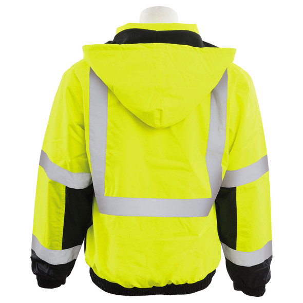 ERB Class 3 Hi Vis Lime Black Bottom Bomber Jacket with Storm Flap and Hood W106-L Back
