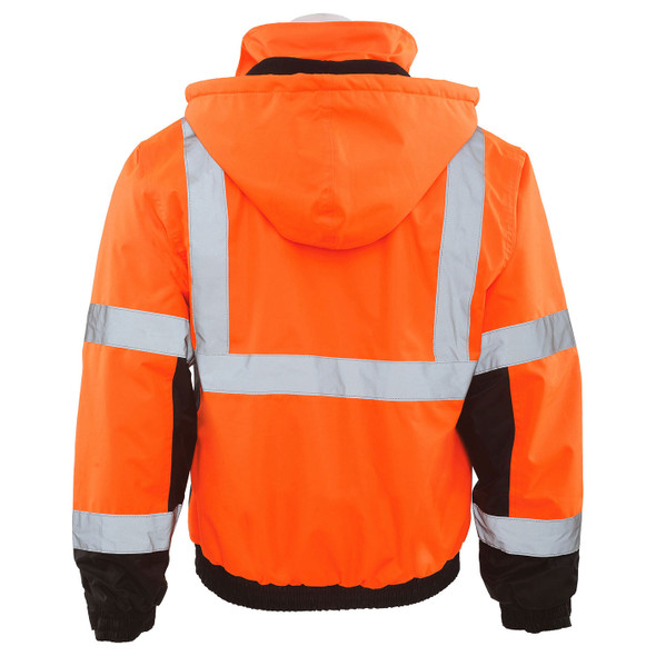 ERB Class 3 Hi Vis Orange Black Bottom Bomber Jacket with Storm Flap and Hood W106-O Back