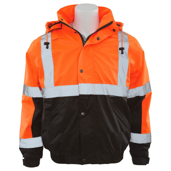 ERB Class 3 Hi Vis Orange Black Bottom Bomber Jacket with Storm Flap and Hood W106-O Front
