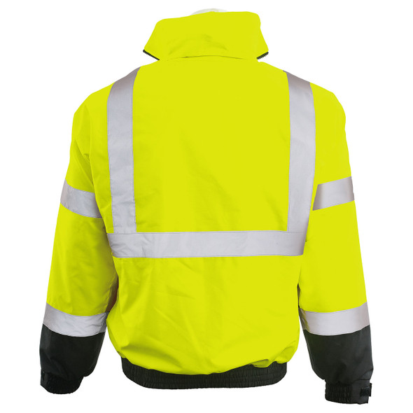 ERB Class 3 Hi Vis Lime Black Bottom 3-in-1 Bomber Jacket W530B Back