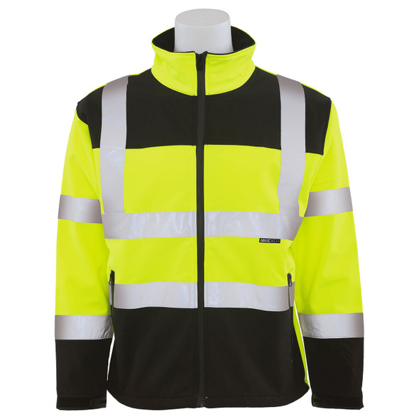 ERB Class 3 Hi Vis Lime Black Bottom Soft Shell Jacket W650 Front