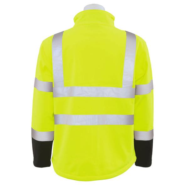 ERB Class 3 Hi Vis Lime Black Bottom Soft Shell Jacket W650 Back