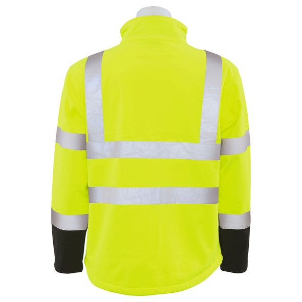 ERB Class 3 Hi Vis Lime Black Bottom Soft Shell Jacket W650 Back