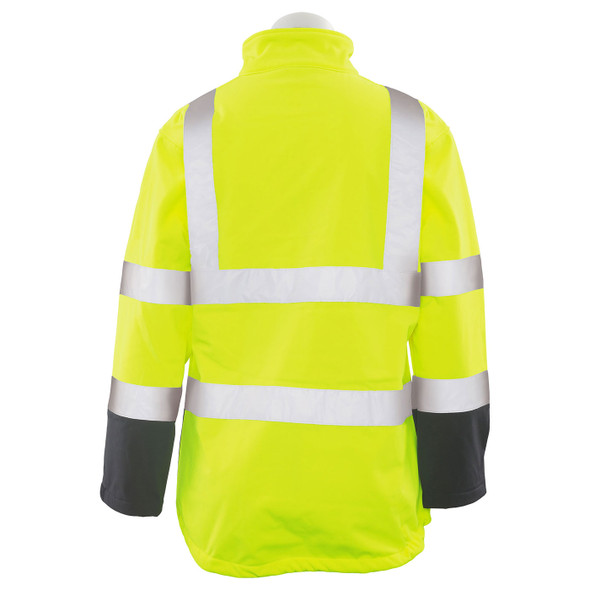 ERB Ladies Class 2 Hi Vis Lime Black Bottom Soft Shell Jacket W651 Back
