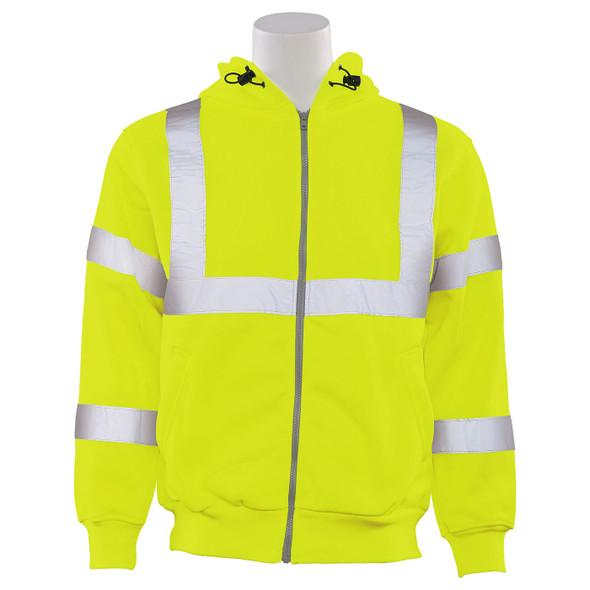ERB Class 3 Hi Vis Lime Zip-Front Hooded Sweatshirt W375 Front