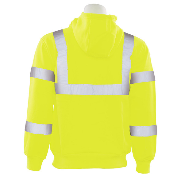 ERB Class 3 Hi Vis Lime Zip-Front Hooded Sweatshirt W375 Back