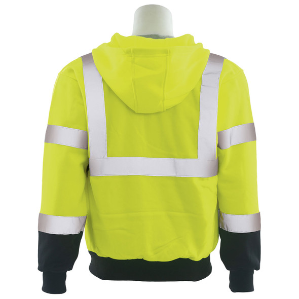 ERB Class 3 Hi Vis Lime Black Bottom Zip-Front Hooded Sweatshirt W375B Back