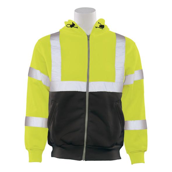 ERB Class 3 Hi Vis Lime Black Bottom Zip-Front Hooded Sweatshirt W375B Front