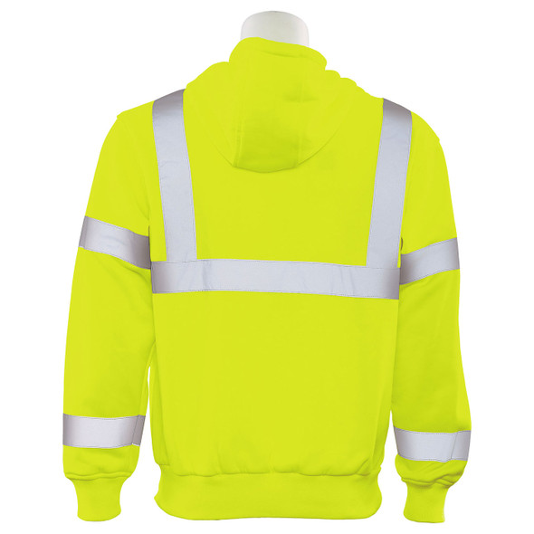 ERB Class 3 Hi Vis Lime Pullover Hooded Sweatshirt W376-L Back