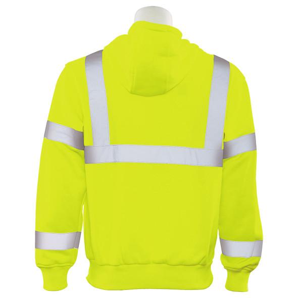 ERB Class 3 Hi Vis Lime Pullover Hooded Sweatshirt W376-L Back