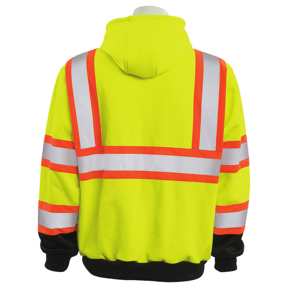 ERB Class 3 Hi Vis Lime Two-Tone Black Bottom Pullover Hooded Sweatshirt W376BC Back