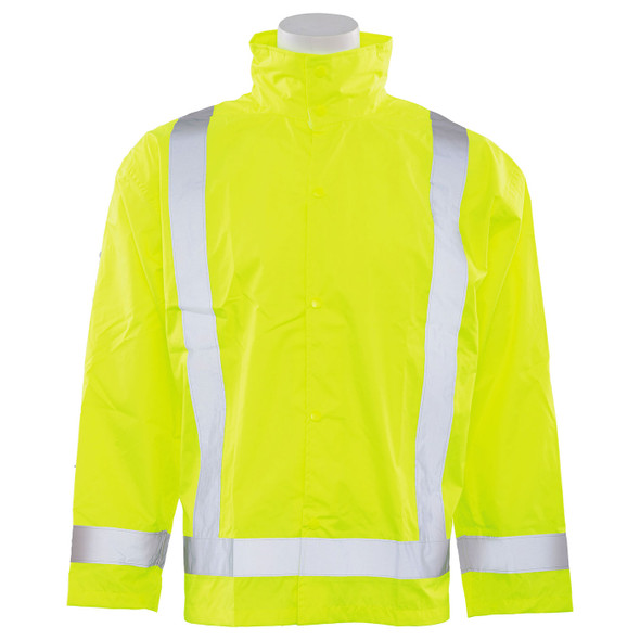 ERB Class 3 Hi Vis Lime Rain Jacket with Detachable Hood S373D-L Front