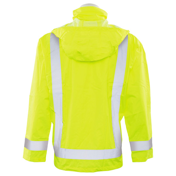 ERB Class 3 Hi Vis Lime Rain Jacket with Detachable Hood S373D-L Back
