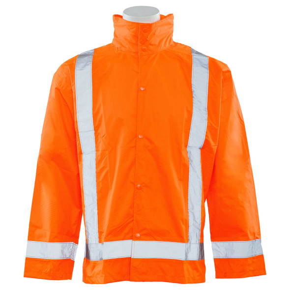 ERB Class 3 Hi Vis Orange Rain Jacket with Detachable Hood S373D-O Front
