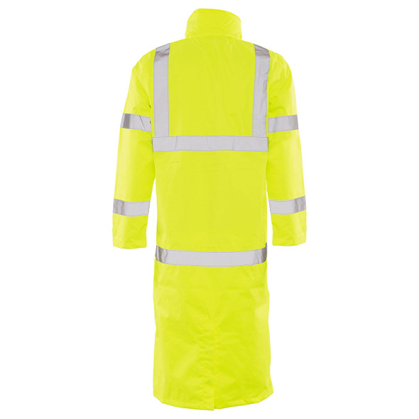 ERB Class 3 Hi Vis Lime Full Length Raincoat S163-L Back