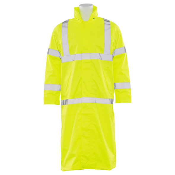 ERB Class 3 Hi Vis Lime Full Length Raincoat S163-L Front