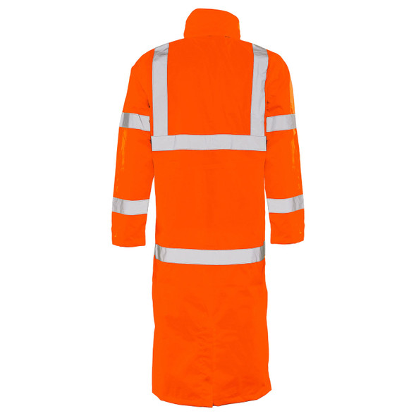 ERB Class 3 Hi Vis Orange Full Length Raincoat S163-O Back