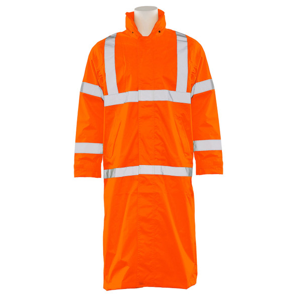 ERB Class 3 Hi Vis Orange Full Length Raincoat S163-O Front