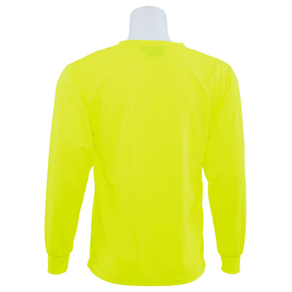 ERB Non-ANSI Hi Vis Lime Moisture Wicking Long Sleeve T-Shirt 9007-L Back