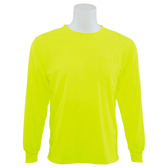 ERB Non-ANSI Hi Vis Lime Moisture Wicking Long Sleeve T-Shirt 9007-L Front