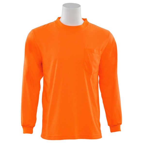 ERB Non-ANSI Hi Vis Orange Moisture Wicking Long Sleeve T-Shirt 9602-O Front