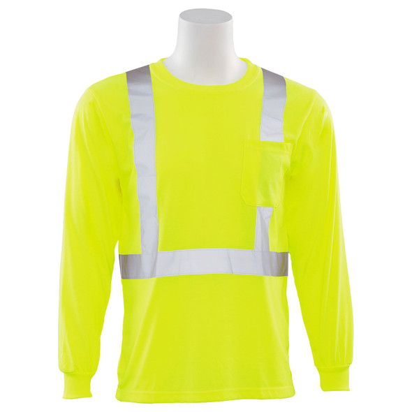 ERB Class 2 Hi Vis Lime Moisture Wicking Long Sleeve T-Shirt 9602S-L Front