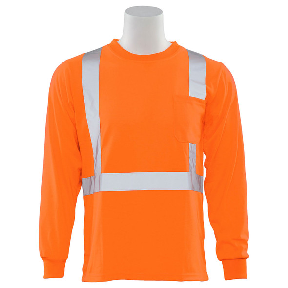 ERB Class 2 Hi Vis Orange Moisture Wicking Long Sleeve T-Shirt 9602S-O Front