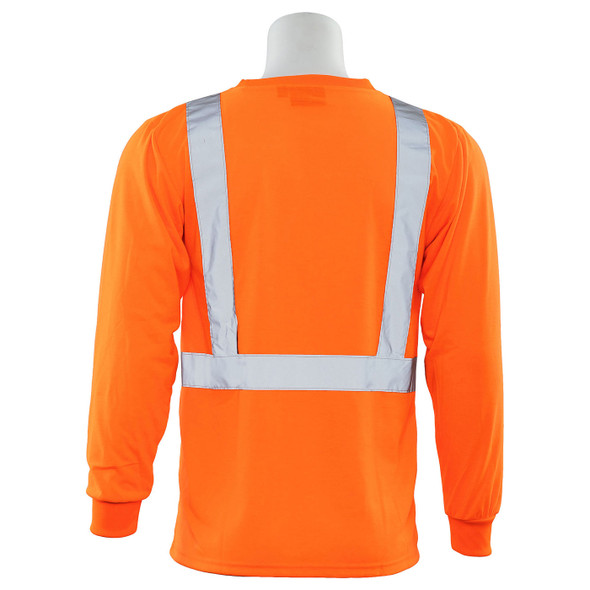 ERB Class 2 Hi Vis Orange Moisture Wicking Long Sleeve T-Shirt 9602S-O Back
