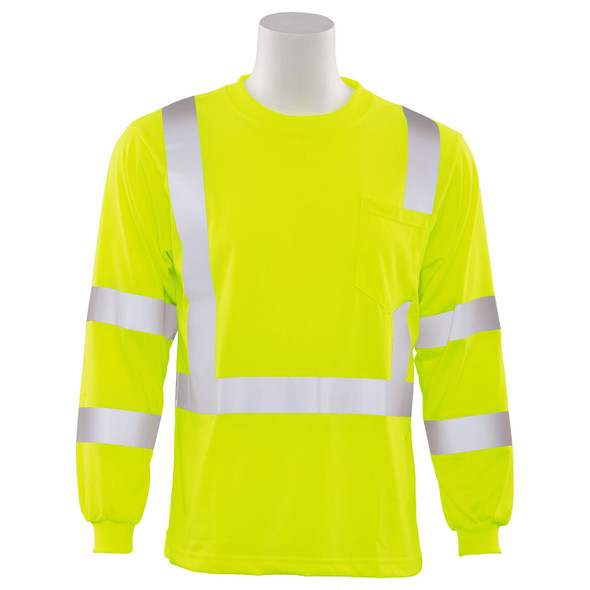 ERB Class 3 Hi Vis Lime Moisture Wicking Long Sleeve T-Shirt 9802S-L Front