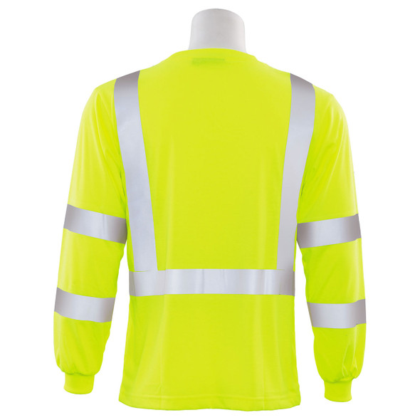 ERB Class 3 Hi Vis Lime Moisture Wicking Long Sleeve T-Shirt 9802S-L Back