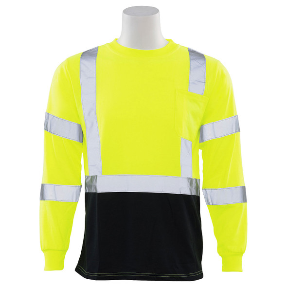 ERB Class 3 Hi Vis Lime Black Bottom Moisture Wicking Long Sleeve T-Shirt 9804S-L Front