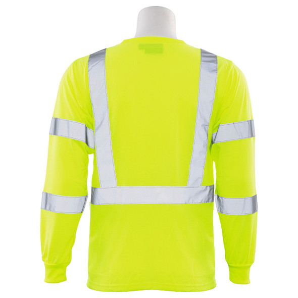 ERB Class 3 Hi Vis Lime Black Bottom Moisture Wicking Long Sleeve T-Shirt 9804S-L Back