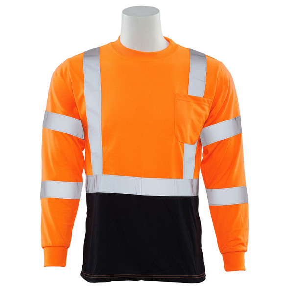 ERB Class 3 Hi Vis Orange Black Bottom Moisture Wicking Long Sleeve T-Shirt 9804S-O Front
